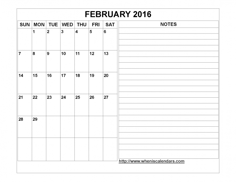February 2016 Calendar Printable Template Word Pdf Image  xjb