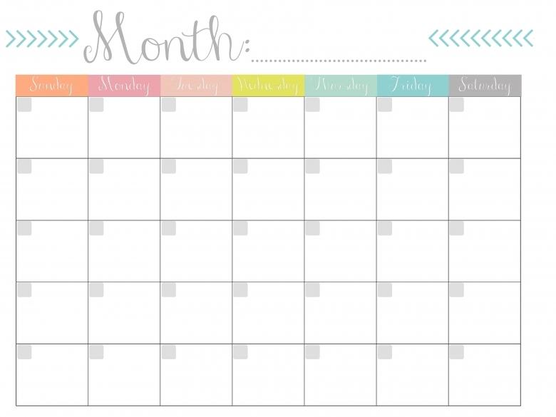 Monthly Calendar Free Printable 89uj