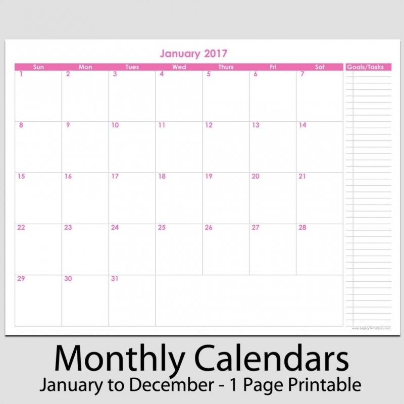 8x11 Printable Monthly Calendar Printable Month Calendar Planner3abry