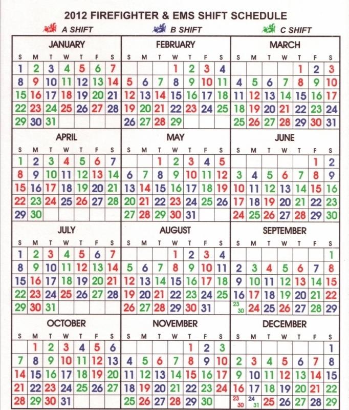Firefighters Shift Calendar 2017 Calendar Template3abry