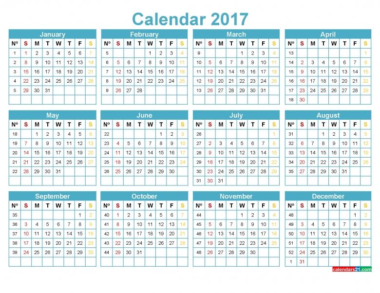 Printable 2017 Calendar With Week Numbers Yearly Calendar Red 89uj