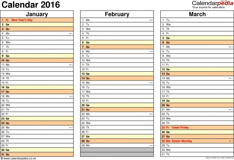 Calendar 2016 Uk 16 Free Printable Pdf Templates  Xjb