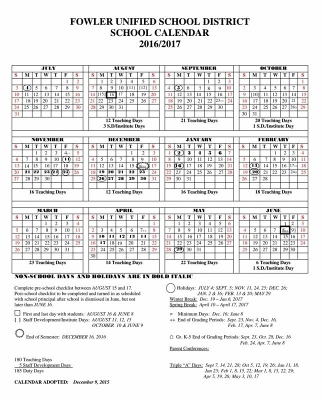 Fort Zumwalt School District 2016 2017 Calendar Calendar  Xjb