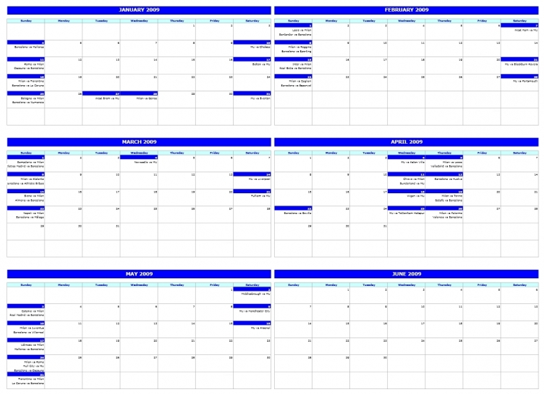 Free Six Monthly Calendar Template  xjb