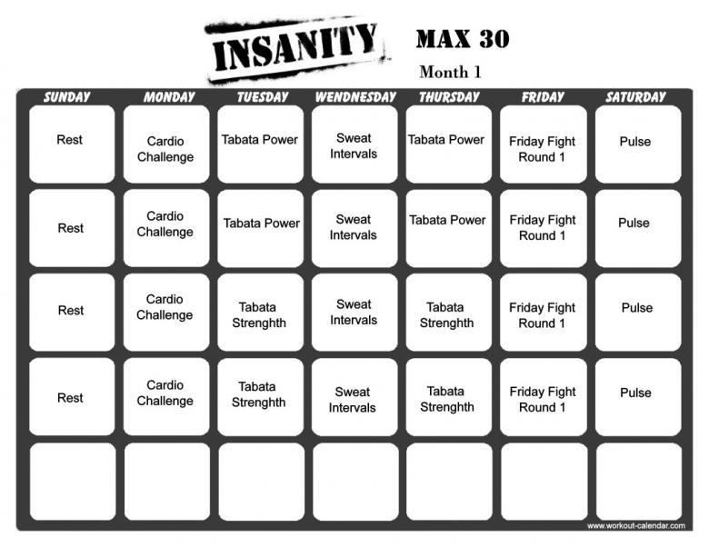 Insanity Max 30 Workout Calendar Print A Workout Calendar  xjb