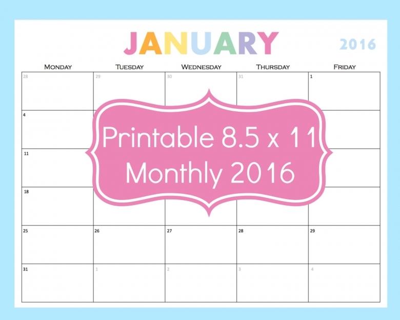 85 X 11 2016 Calendars Printable Calendar Template 2017 89uj