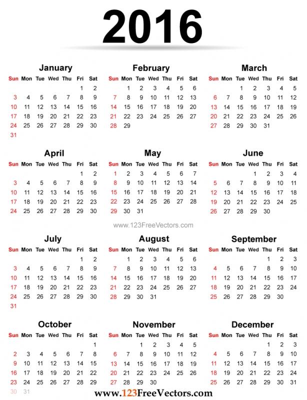 Printable 2016 Calendar Template 123freevectors 89uj