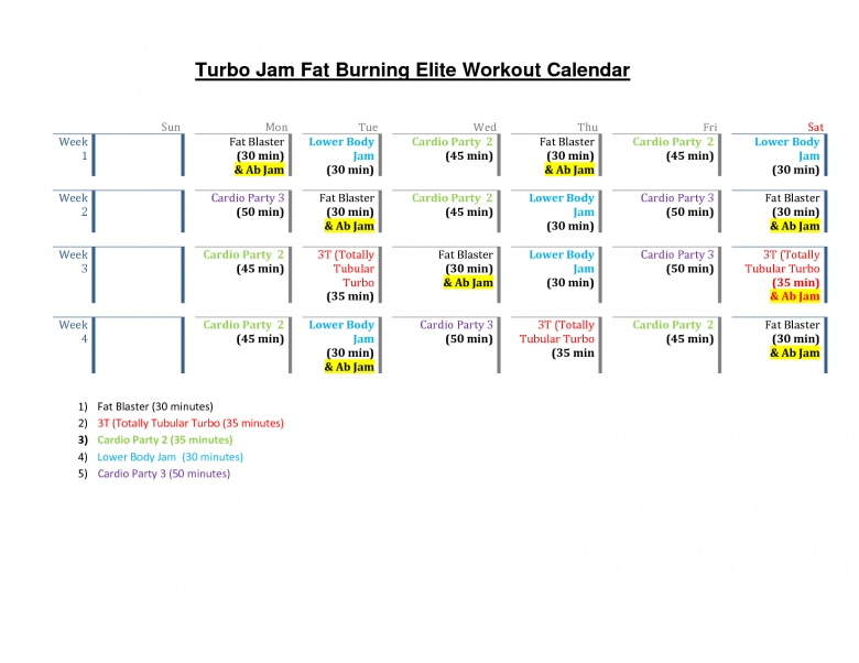 Turbo Jam Workout Schedule Calendar Tired Of The Fat Use These  Xjb