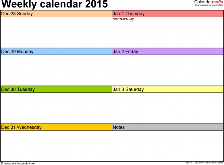 Weekly Calendar 2015 For Word 12 Free Printable Templates  Xjb