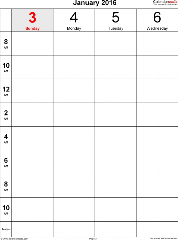 Weekly Calendar 2016 For Excel 12 Free Printable Templates  Xjb