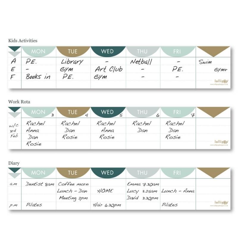 Mini Keyboard Weekly Planner Pad Matt Gold Lollipop Designs 89uj