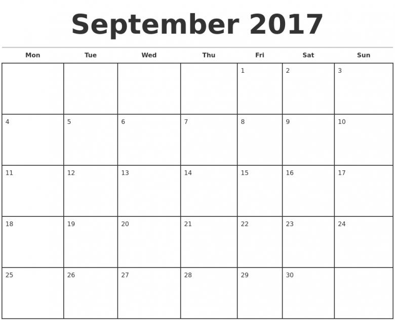 2017 Monthly Calendar Template 89uj
