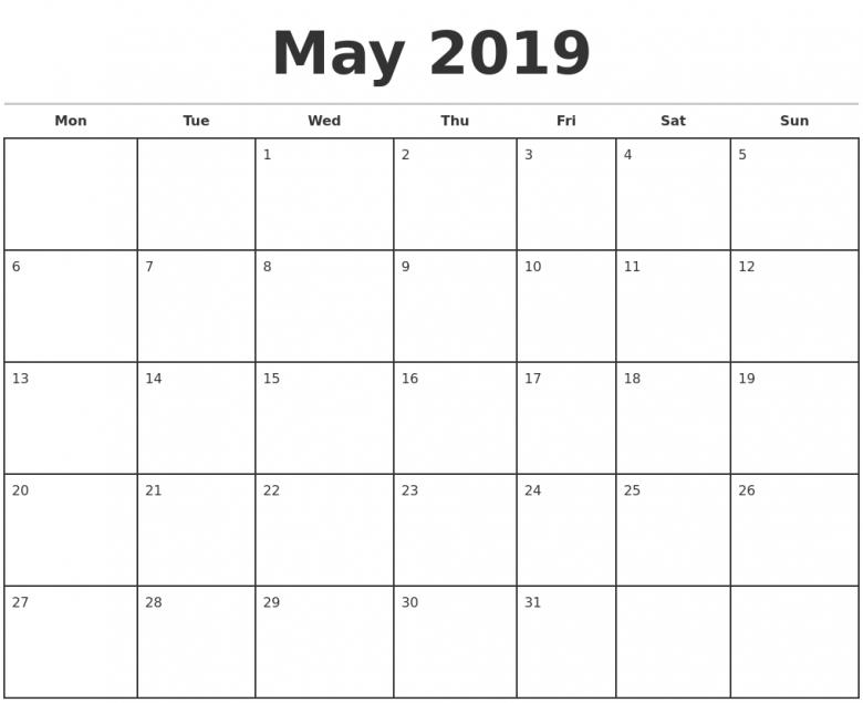 2019 Monthly Calendar Template 89uj