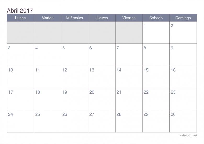 Calendario Abril 2017 Para Imprimir Icalendario  xjb
