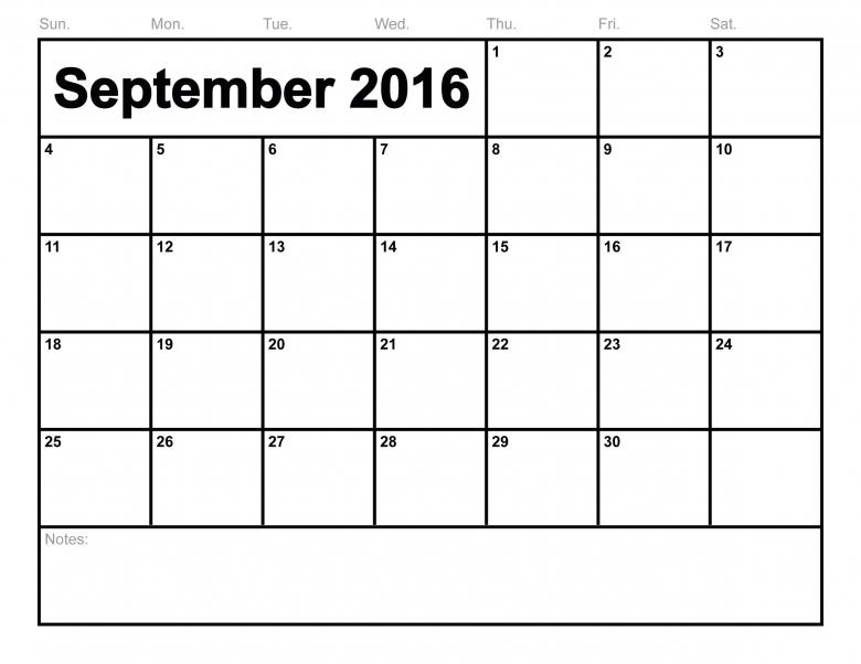 Free Printable September 2016 Calendar September Month  xjb