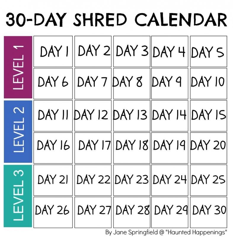Calendar Template For Jillian Michaels 30 Day Shred To Keep3abry