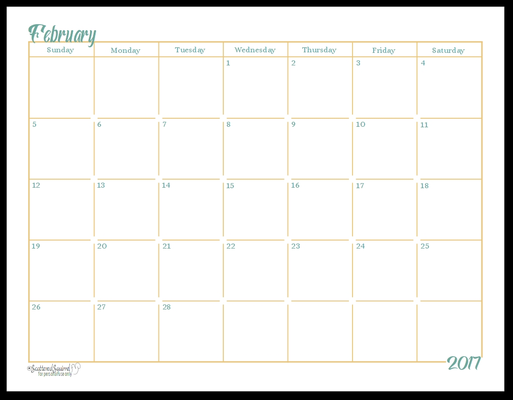2017 Full Size Monthly Calendar Printables Are Here3abry