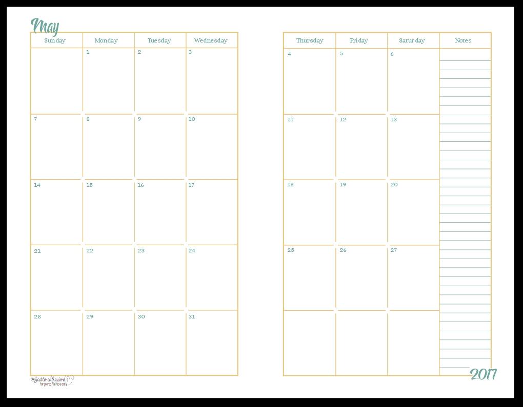 2017 Half Size Monthly Calendar Printables3abry