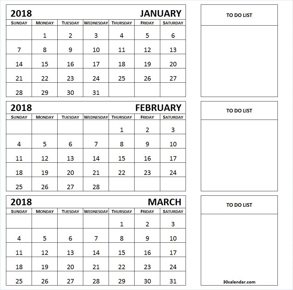3 Month Calendar 2018 Printable Calendar Templates 2018 89uj