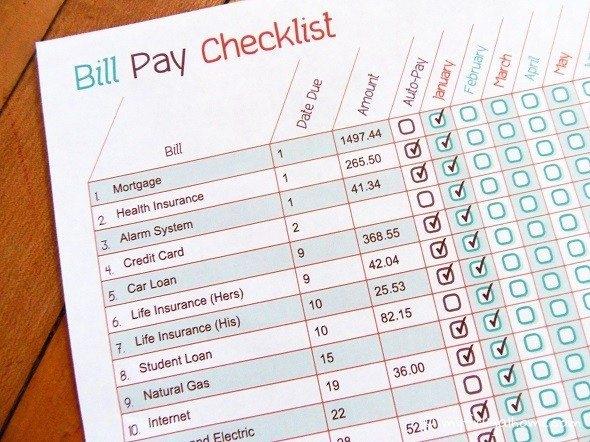 Bill Pay Checklist