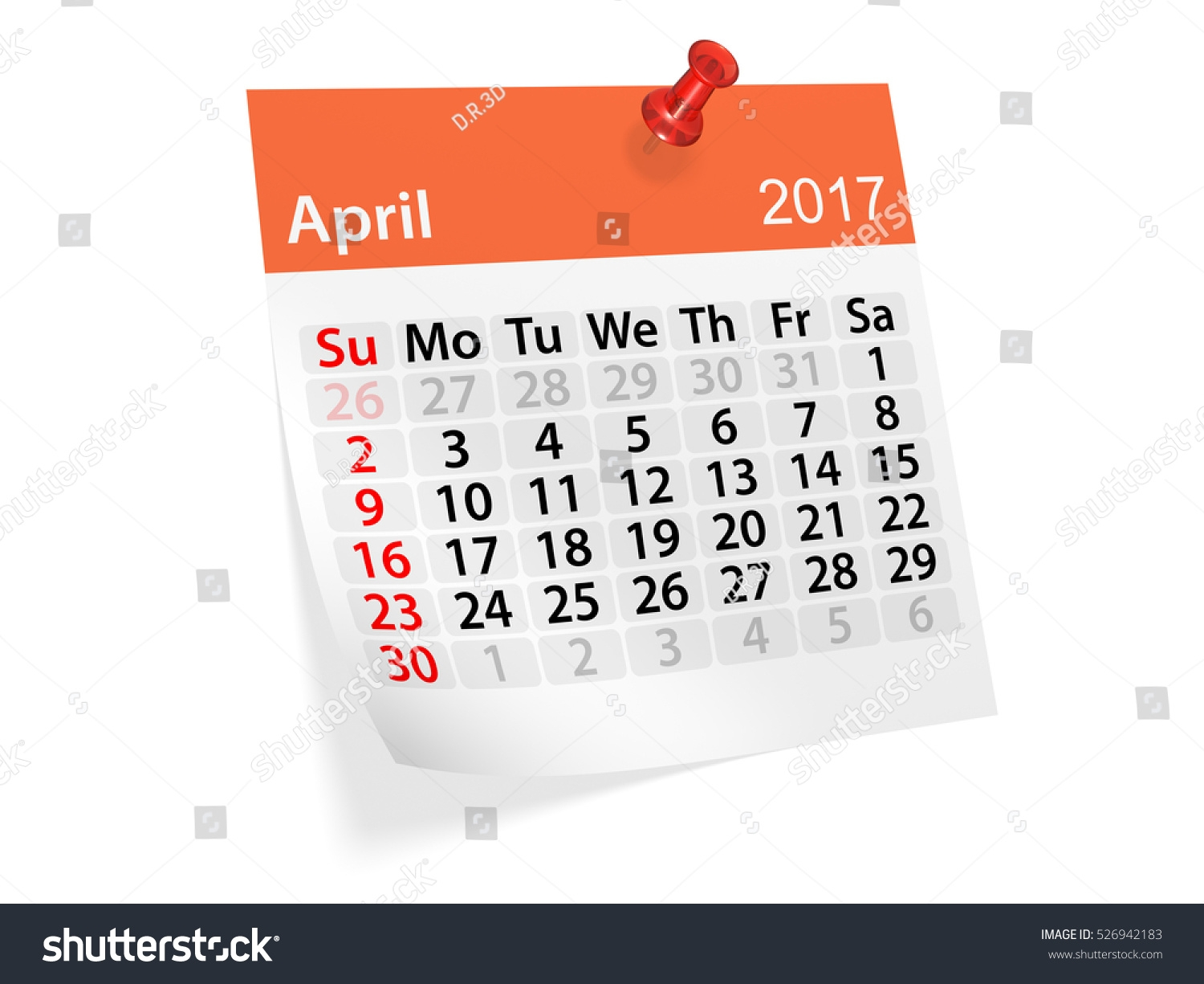 Colorful Pinned Note Monthly Calendar April Stock Illustration3abry