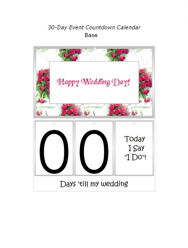 Free Printable Wedding Event Countdown Calendar Decorations At