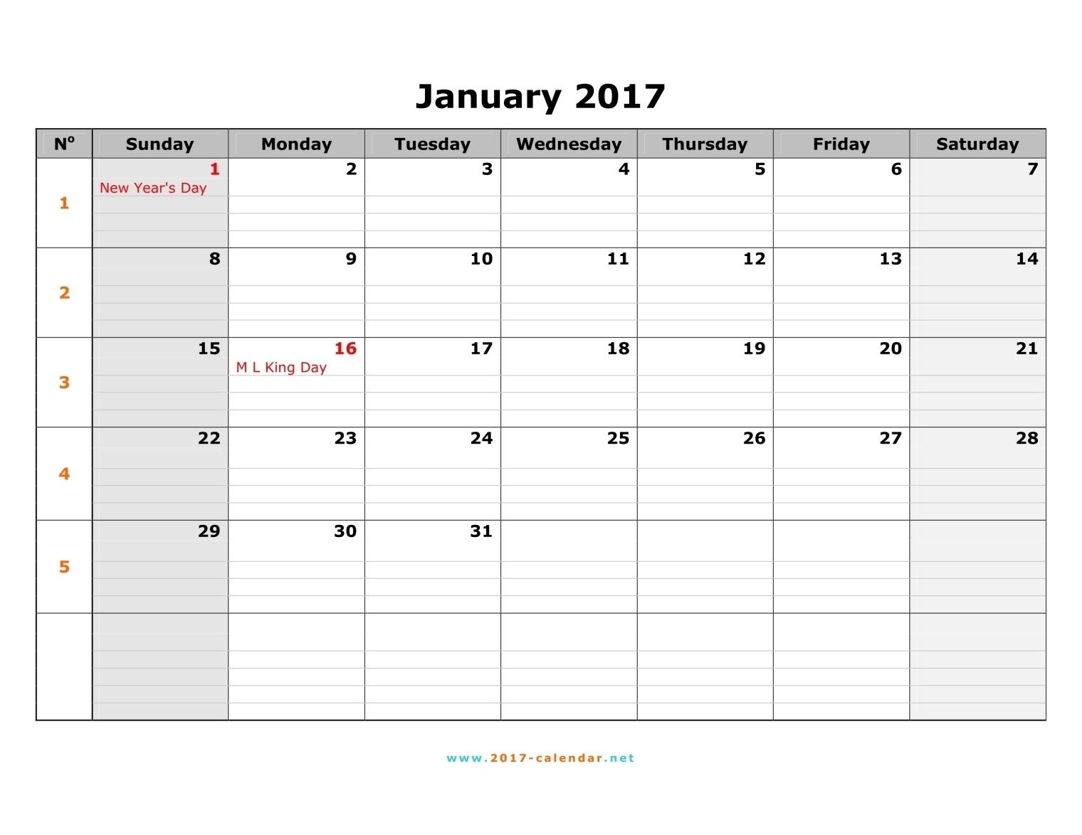 Printable 2017 Calendar3abry