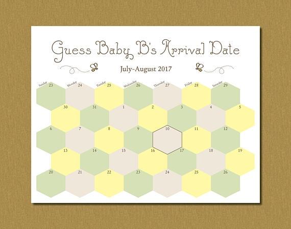 Printable Guess Bas Arrival Due Date Calendar