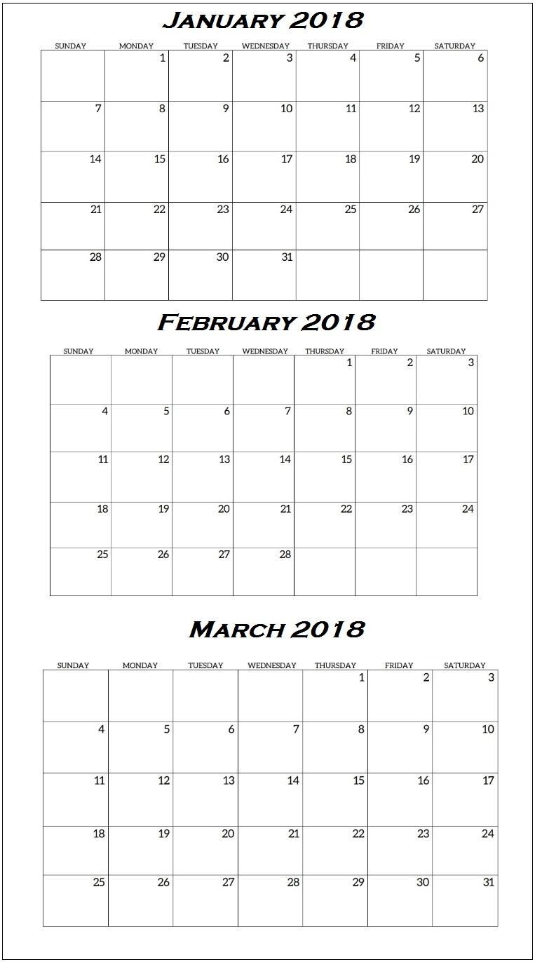 Quarterly Printable Calendar 2018 Calendar 20183abry