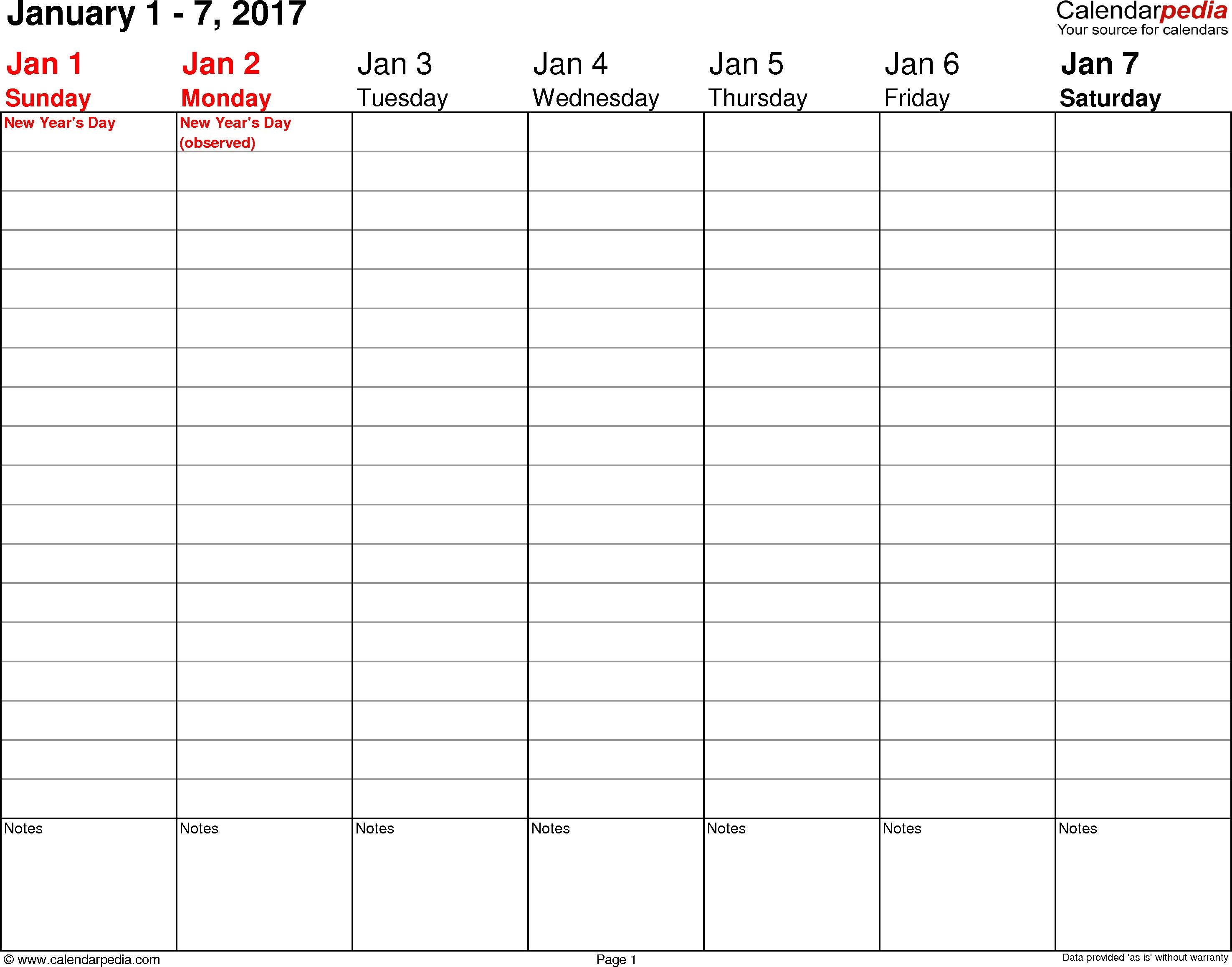 Weekly Calendar 2017 For Pdf 12 Free Printable Templates  Xjb