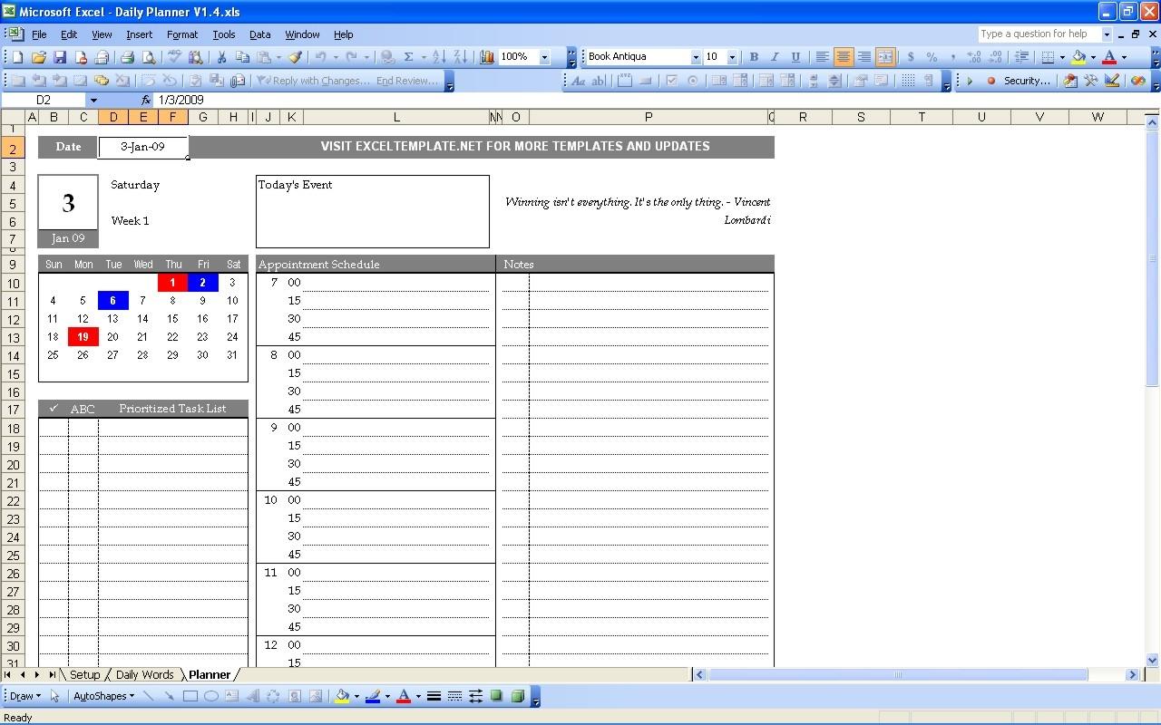 Word Day Planner Template Targergolden Dragonco  Xjb
