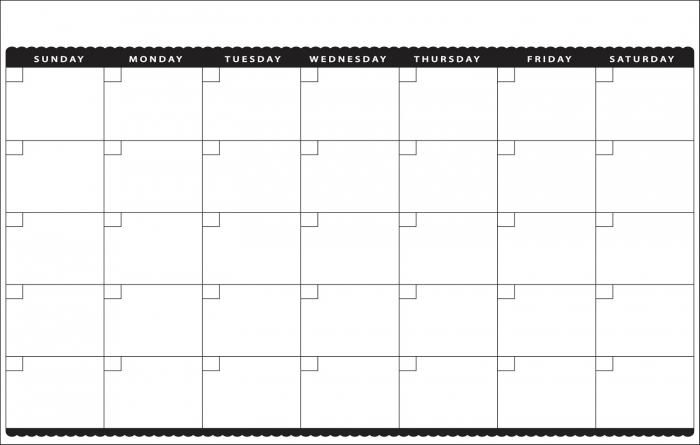 11×17 Monthly Calendar Calendar Printable Template
