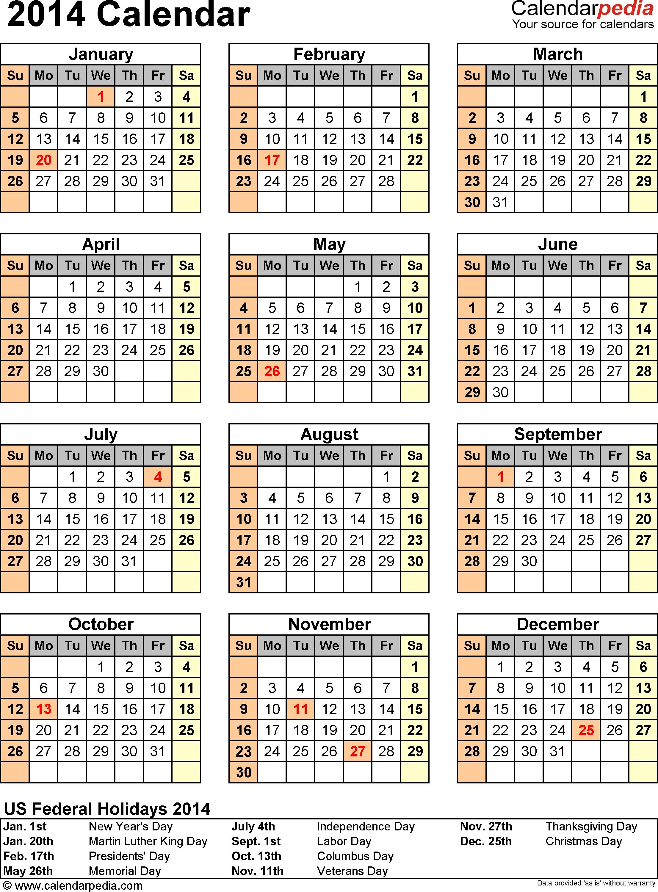 2014 Calendar Excel 13 Free Printable Templates Xlsx