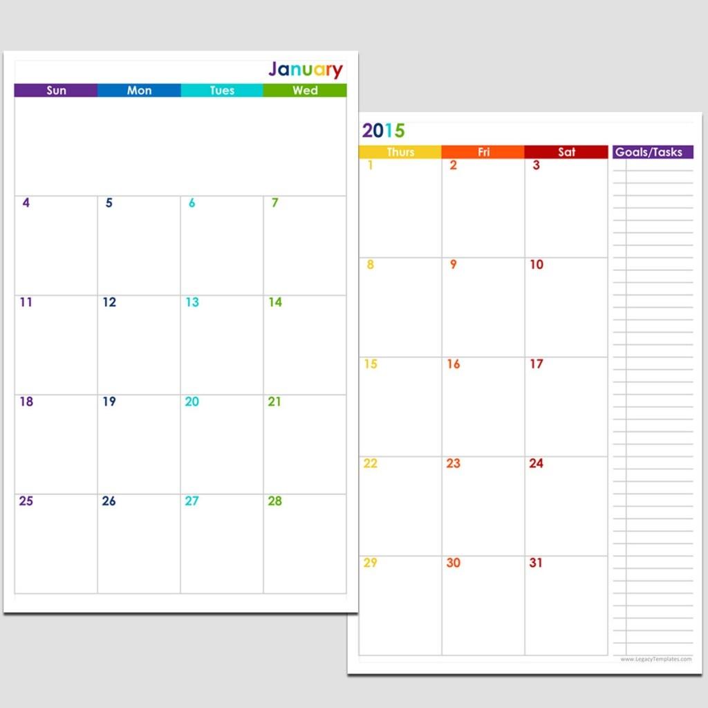 2015 12 Month 2 Page Calendar Half Size Legacy Templates