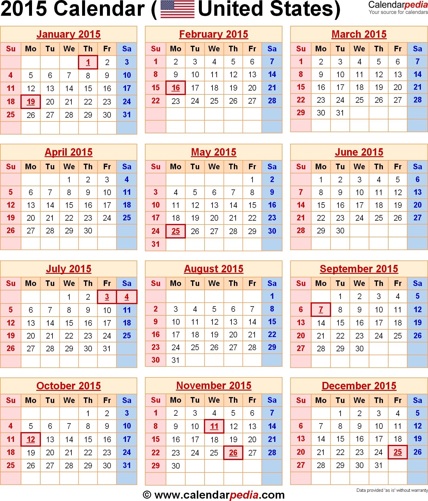 2015 Calendars 2015 Calendar With Federal Holidays Excelpdf