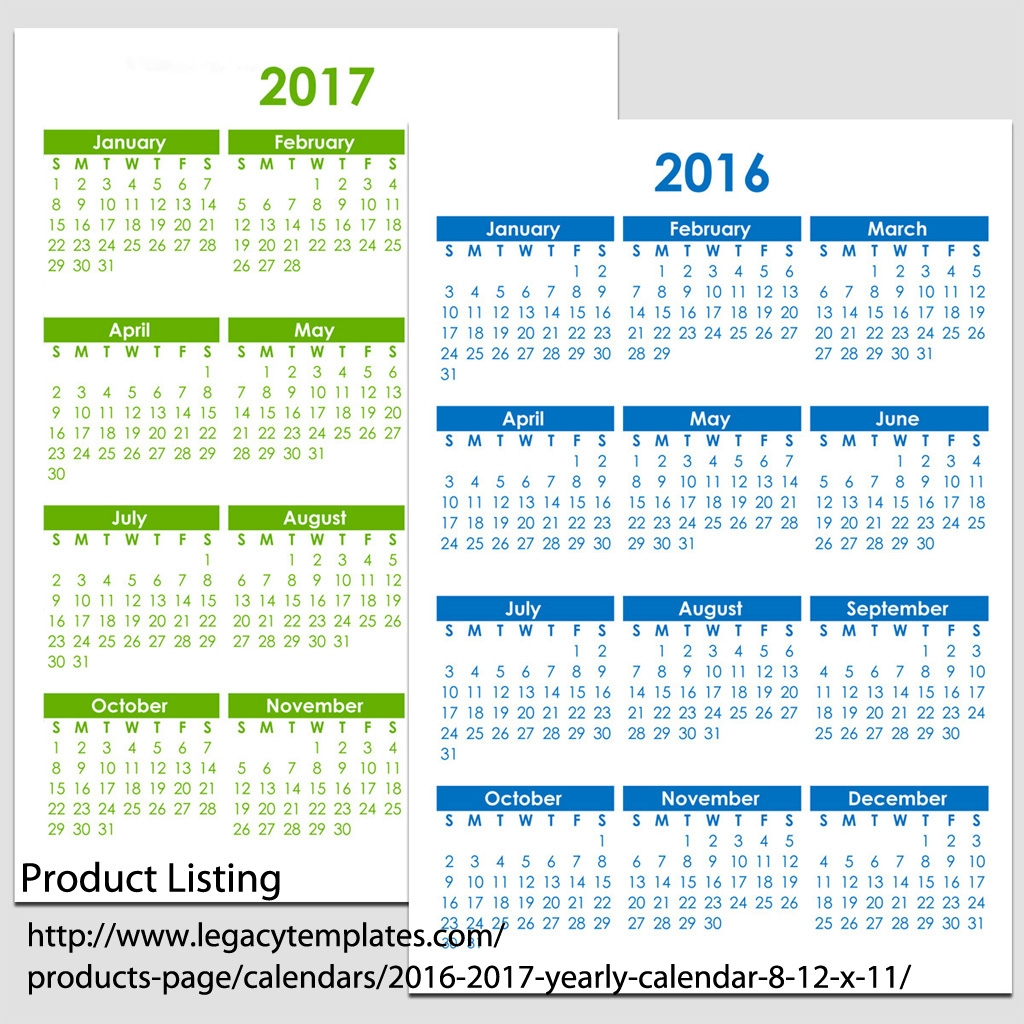 2016 2017 Yearly Calendar 8 12 X 11 Legacy Templates