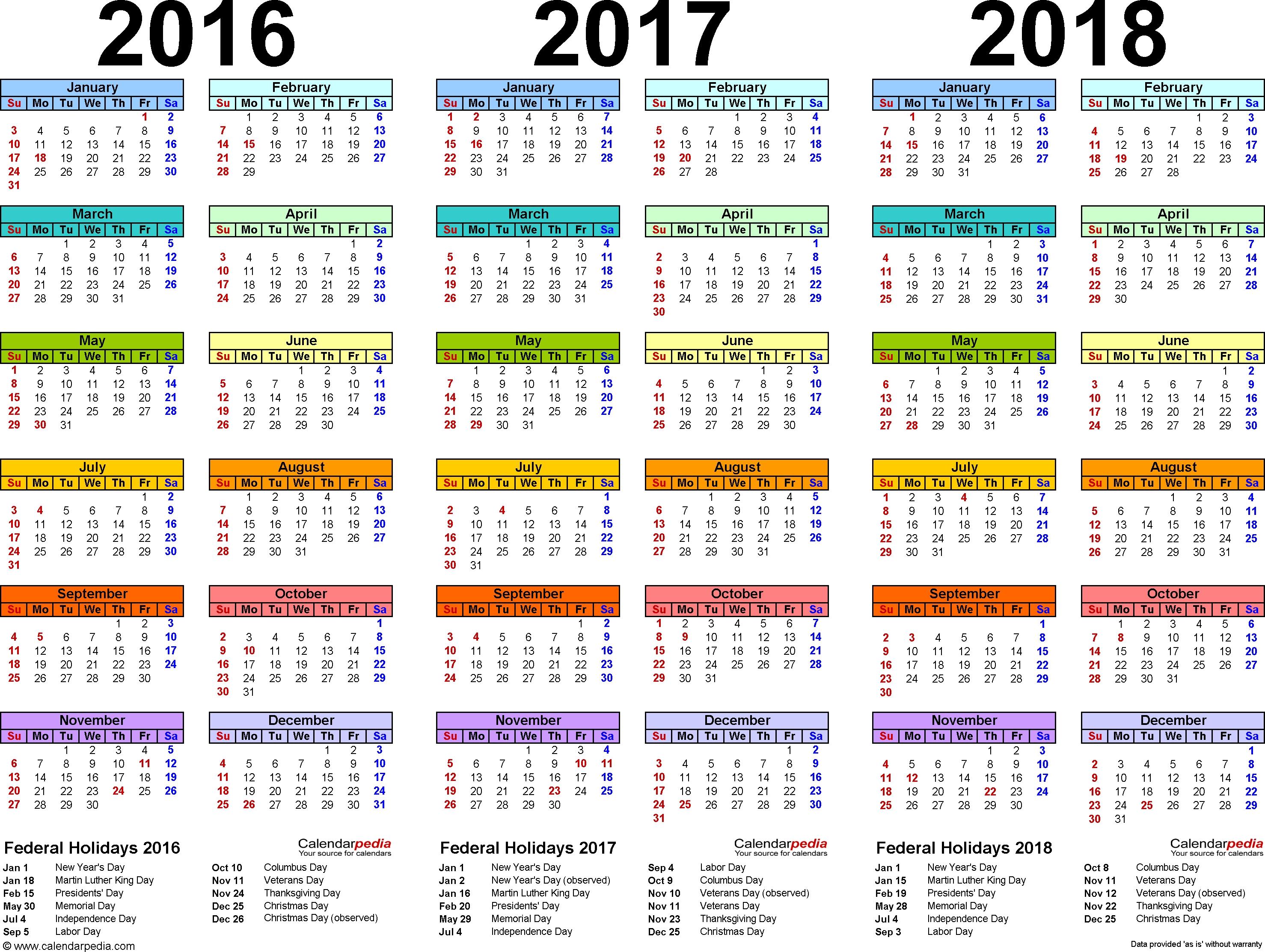 201620172018 Calendar 4 Three Year Printable Pdf Calendars