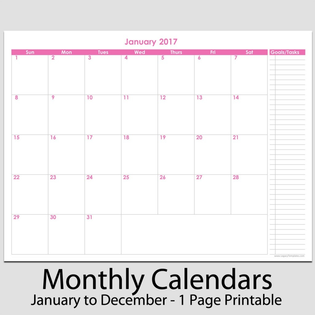 2017 12 Month Calendar With Tasks 8 12 X 11 Legacy Templates