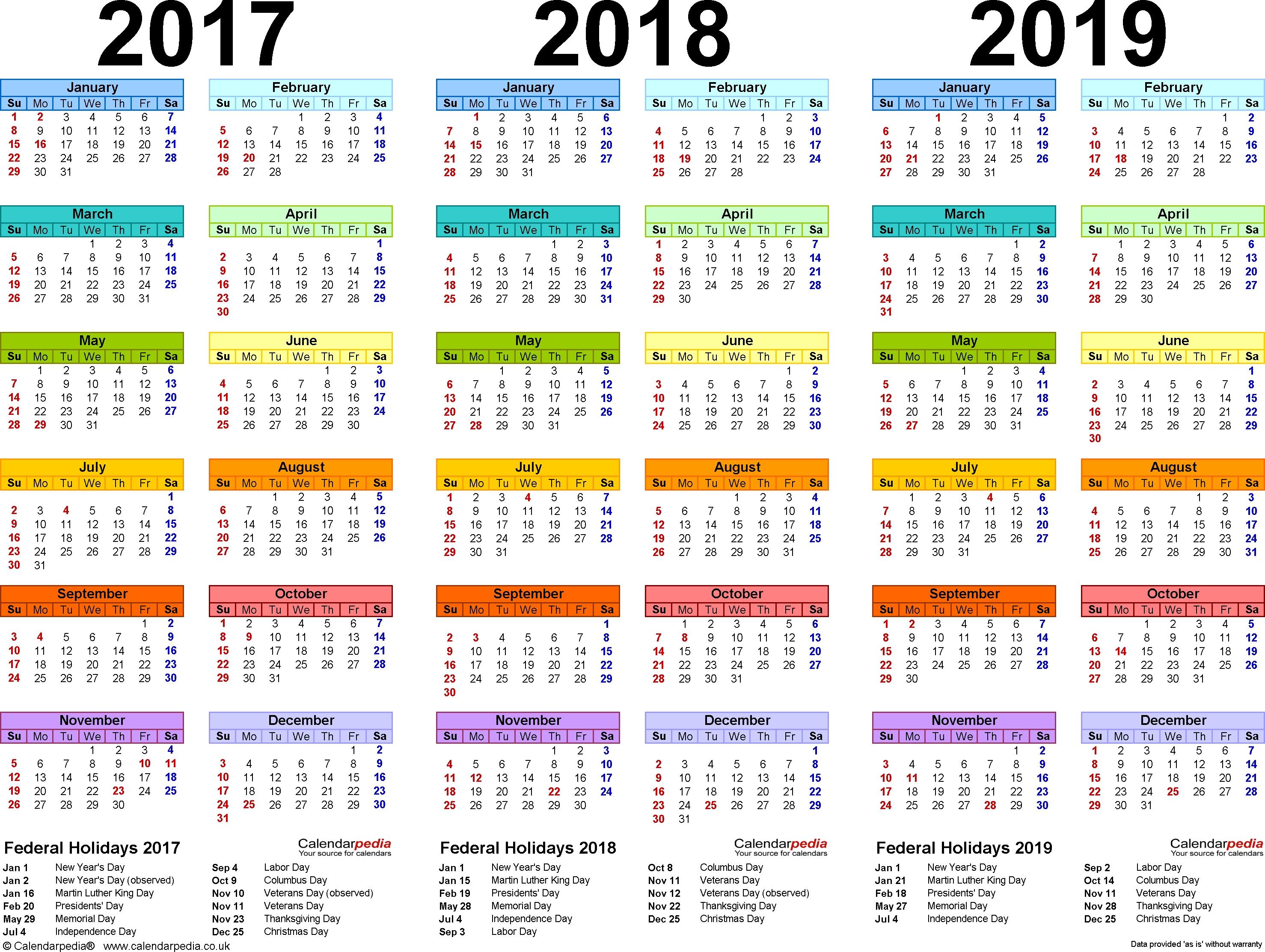 201720182019 Calendar 4 Three Year Printable Pdf Calendars