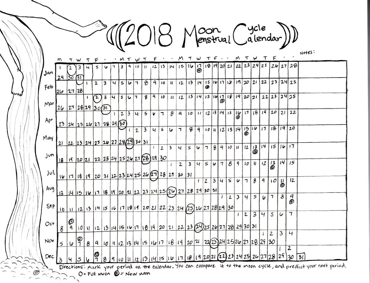 2018 Menstrual Moon Calendar Take Root Herbarium3abry