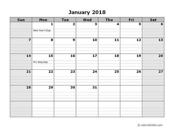 2018 Monthly Calendar With Daily Notes Free Printable Templates