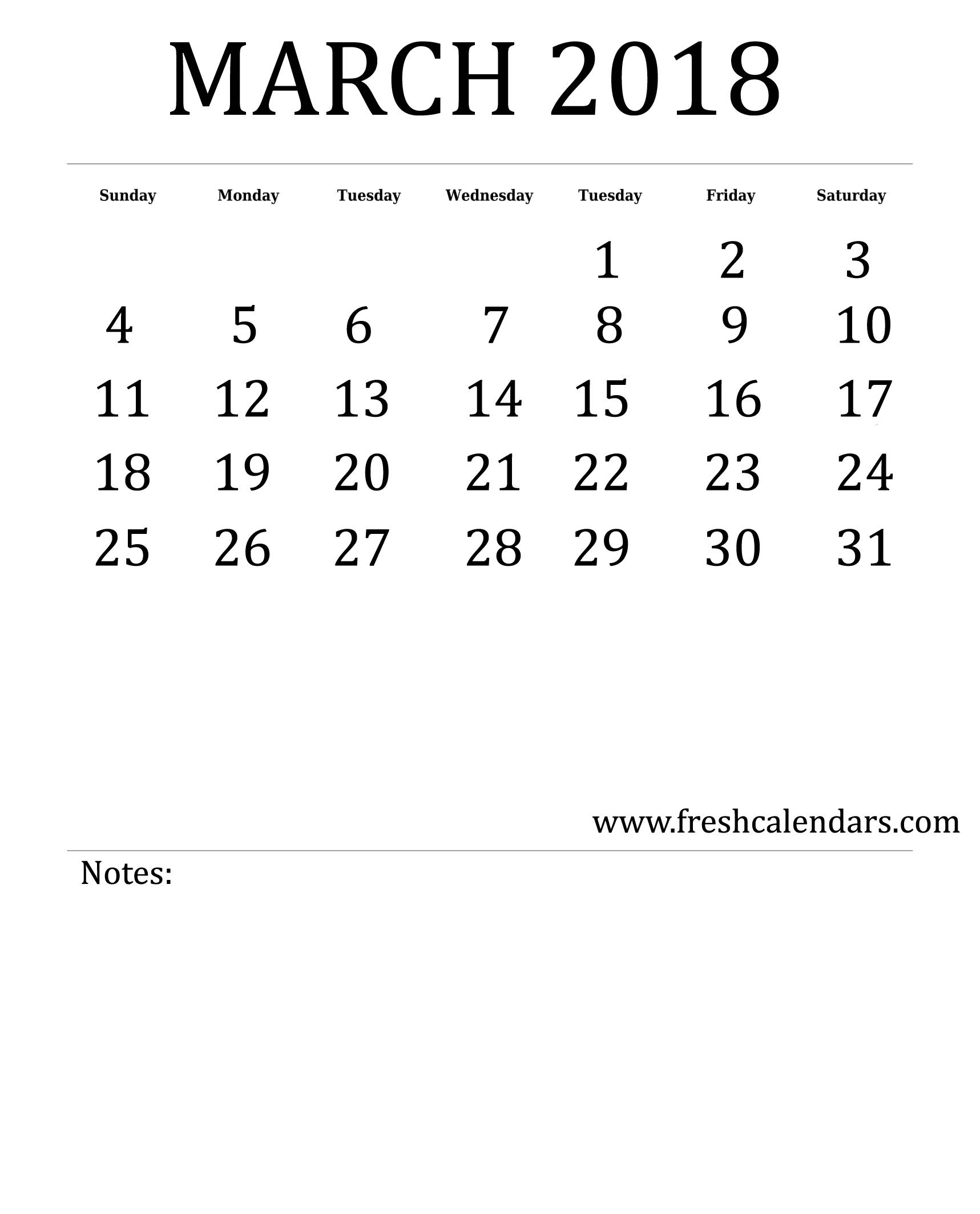 25 Printable March 2018 Calendar Templates Online3abry