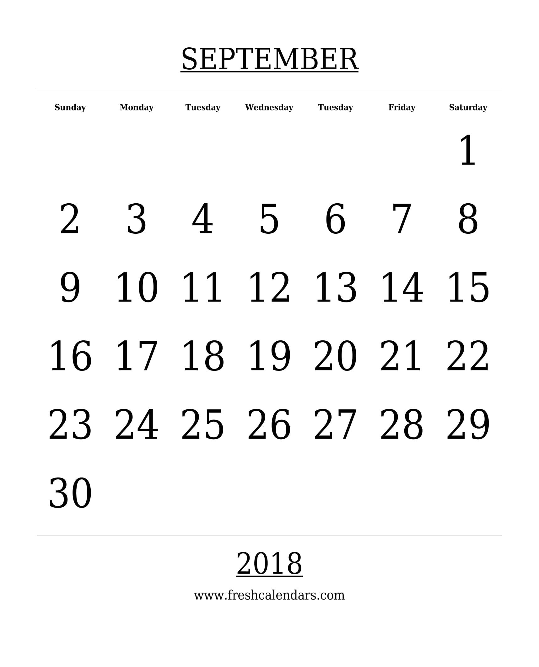 25 Printable September 2018 Calendar Templates Online3abry
