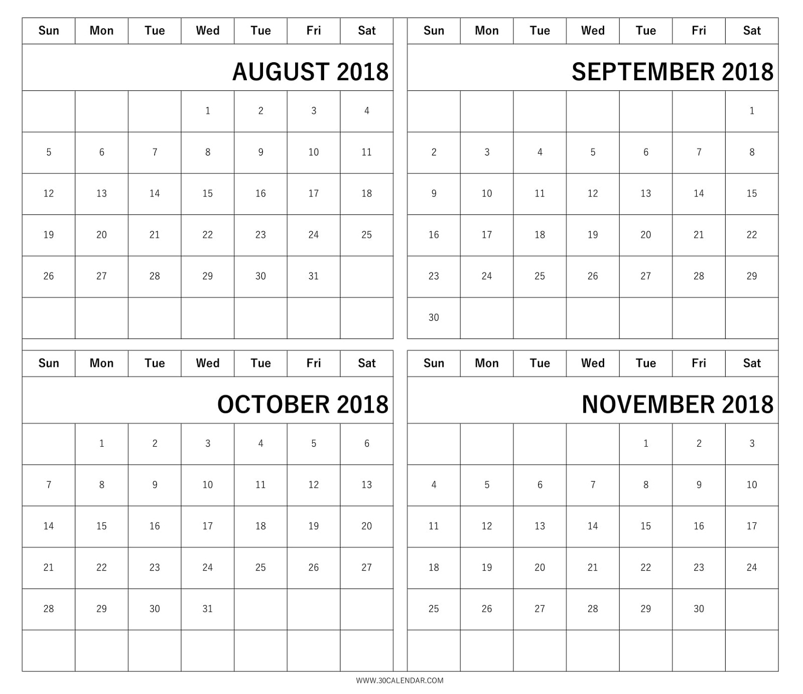 4 Months 2018 Calendar August September October November 89uj