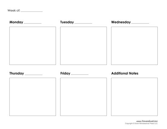 5 Day Weekly Calendar Printable Journalingsage