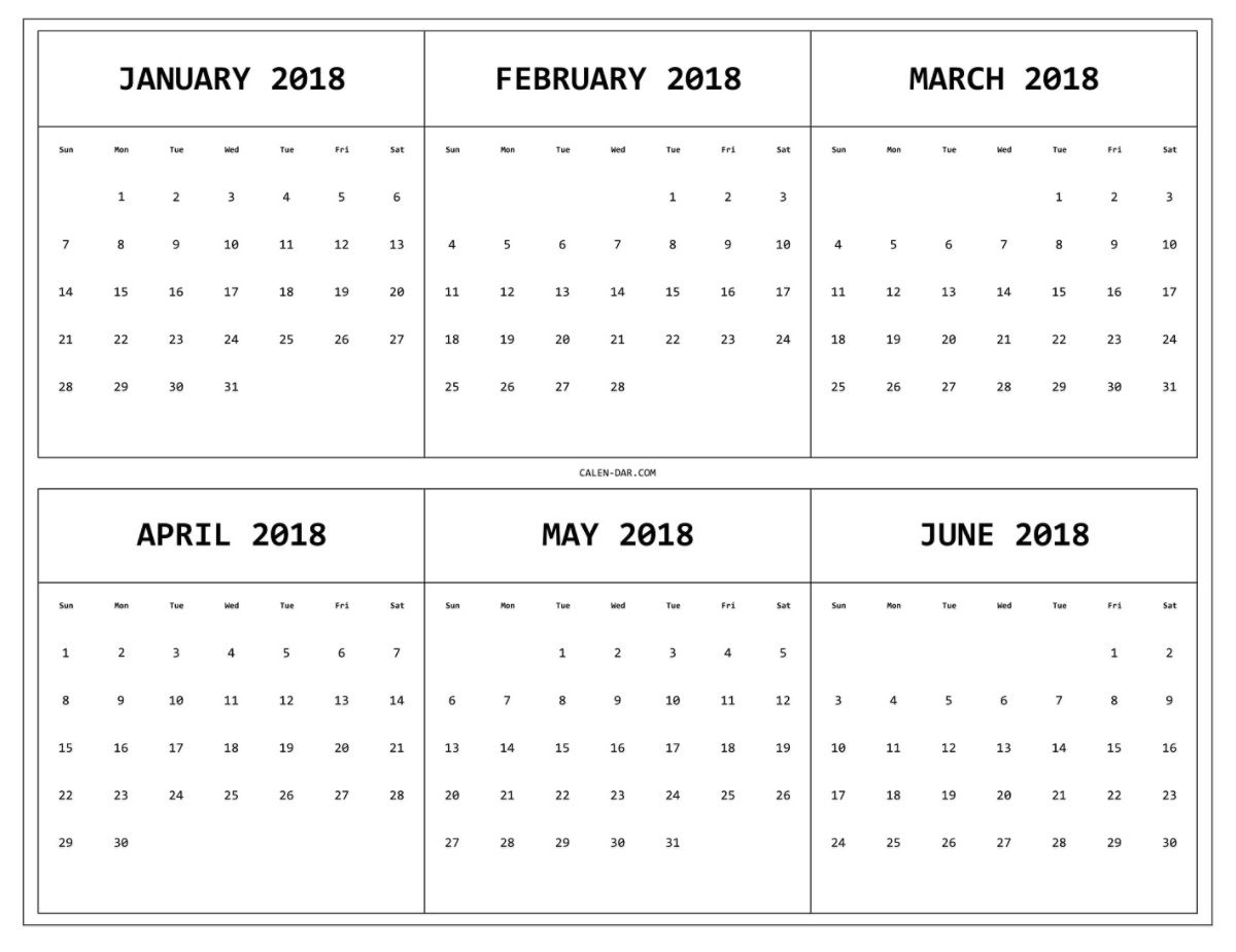 6 Month One Page Printable Calendar 2018 Maxcalendars3abry