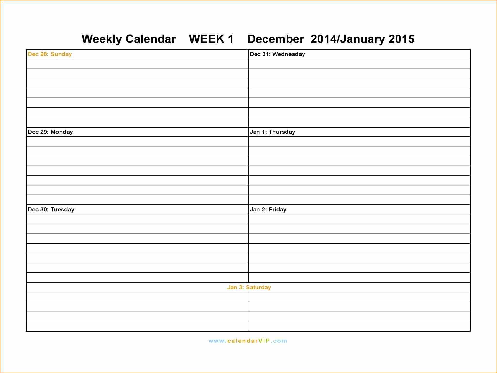 7 2 Week Calendar Template Word Basic Job Appication Letter  Xjb