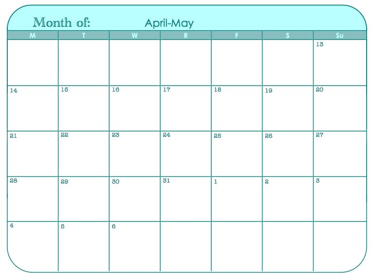 9 Best Images Of 31 Day Blank Calendar Template 30 Day Calendar