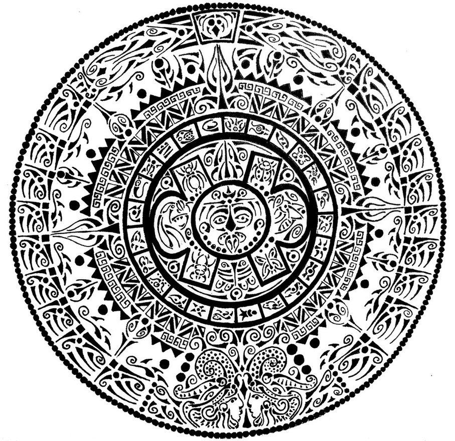 Aztec Calendar Curvy Tribal On Deviantart3abry