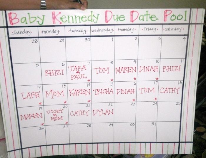 Ba Due Date Pool Calendar Calendar Printable Template